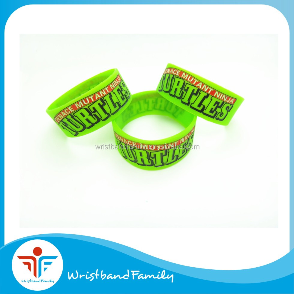 "Custom green wristband with ""turtles"" debossed ink filled/ Kids love animal silicone bands"