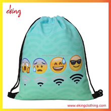 2017 new design high quality impression emoji drawstring bag factory