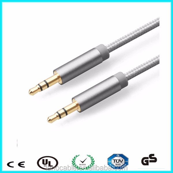 Metal 3.5mm aux jack male to male stereo audio cable