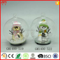 100mm hand painted lighted glass snow globe with snowman inside