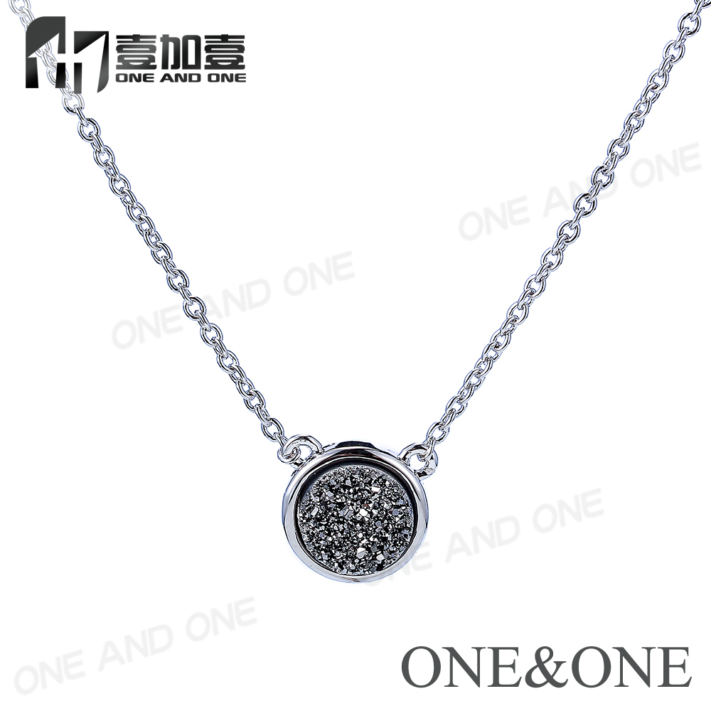 Silver Druzy Necklace Wholesale Round 6mm Natural Drusy Agate Stone Pendant Silver Chains Fashion Jewelry