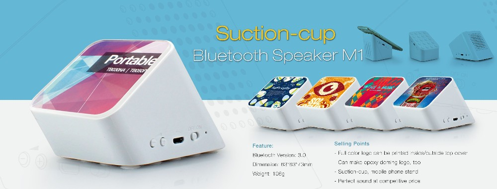 2017 best selling Traction suction bluetooth speaker M1, good quality cheap mini slant speaker