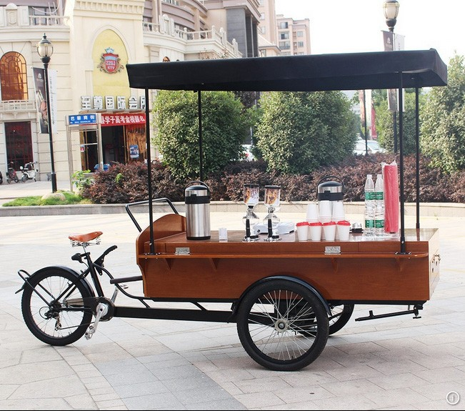 Wooden push carts street coffee bike mobile store bbq food