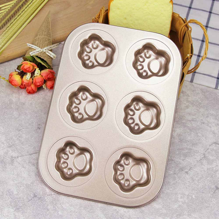Madeleine Pan Cat Claw 6 Cup Nonstick Carbon Steel baking mould Muffin Pan Gold