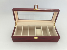 rectangular 6 grids wooden watch box with glass window