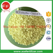 control slow release fertilizer / yellow granular sulphur coated urea