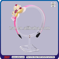 TSD-A969 Hot sale countertop clear acrylic headband display/hair bow display stand/hair accessories display stand