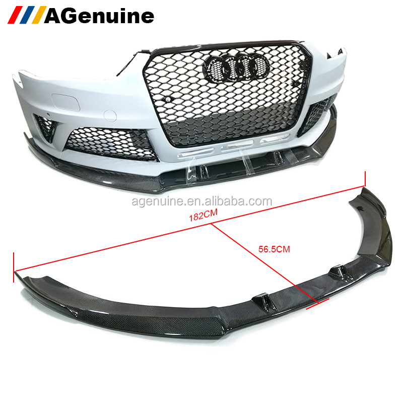 AGenuine car accessories full 3K carbon fiber RS4 front bumper lip spoiler for audi A4 B8.5 RS4