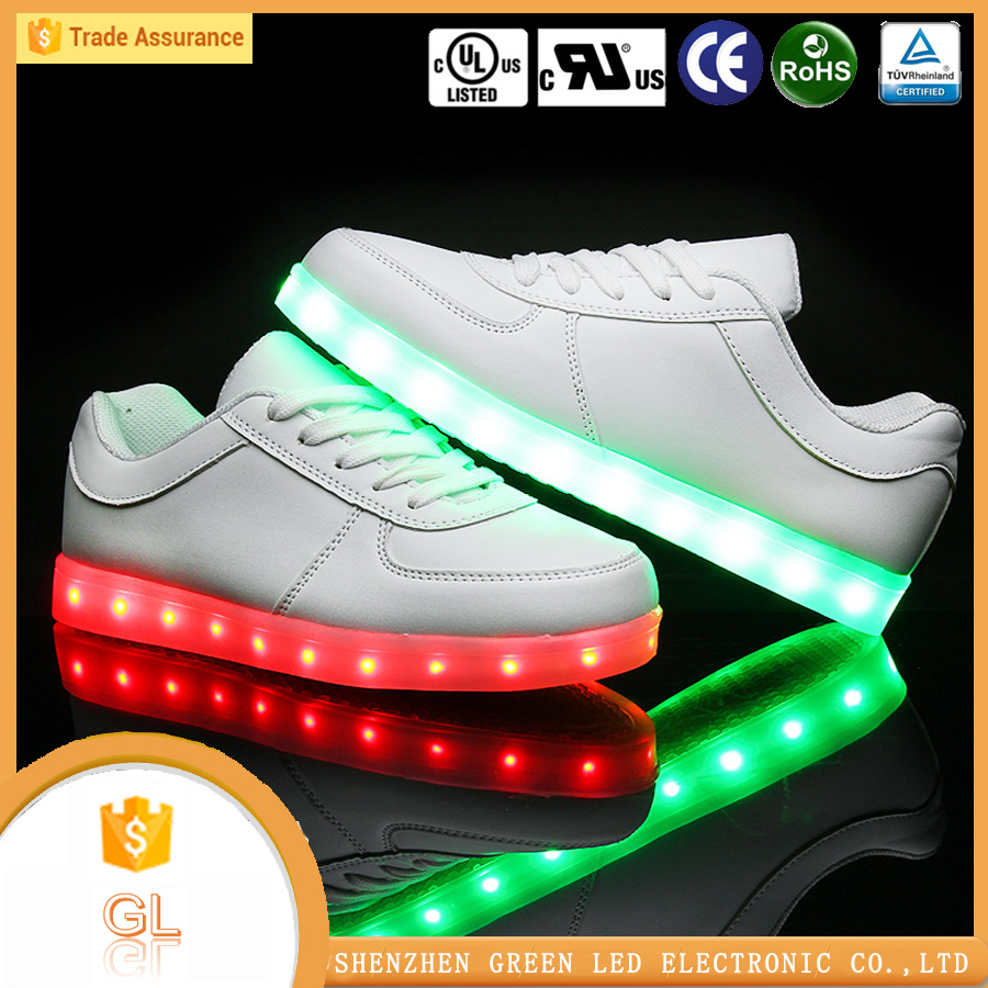 Cotton Fabric Material shoes men led light up shoes,7 color changing rechargeable led shoes