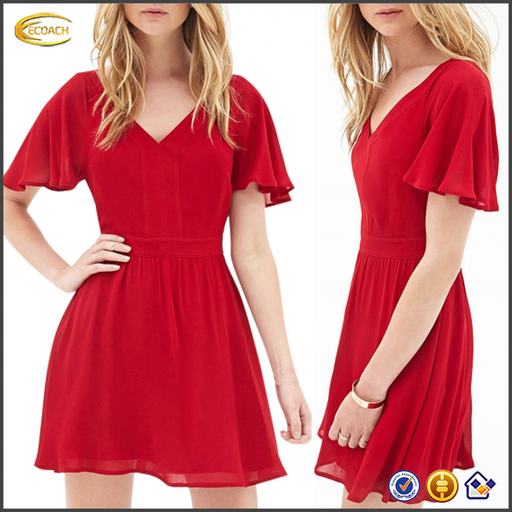 Ecoach wholesale Women's Fashion Solid real pictures of cocktail dress Short Sleeve Backless latest cocktail dress designs