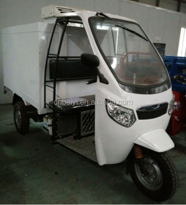 China best manufactory high quality chill car semi closed cargo tricycle with cabin for seafood delivery