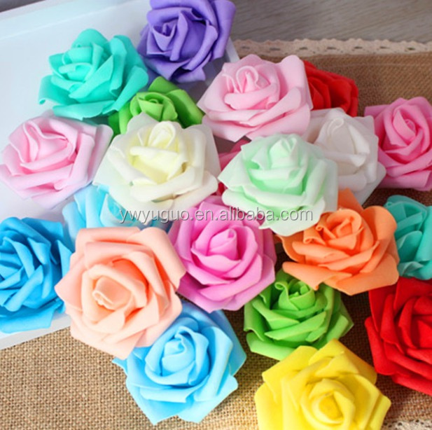 6cm mix colors 20pcs Foam rose <strong>flower</strong> head flat back <strong>flowers</strong> bud kissing ball <strong>flowers</strong>