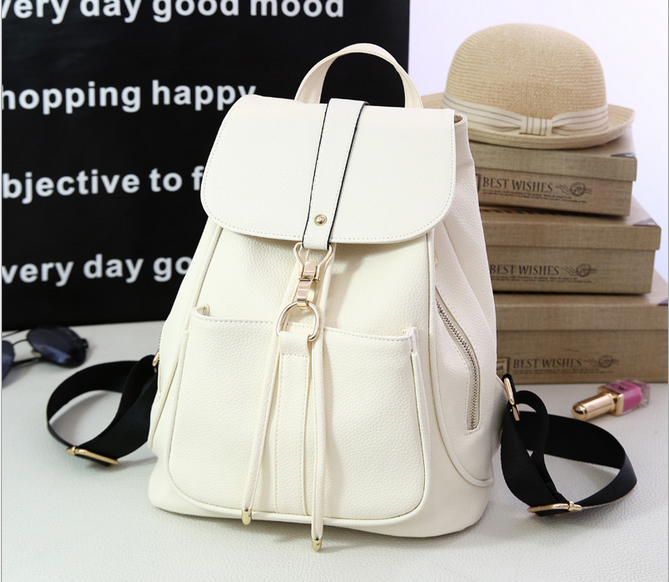 Women White Free Samples Genuine Leather Backpack