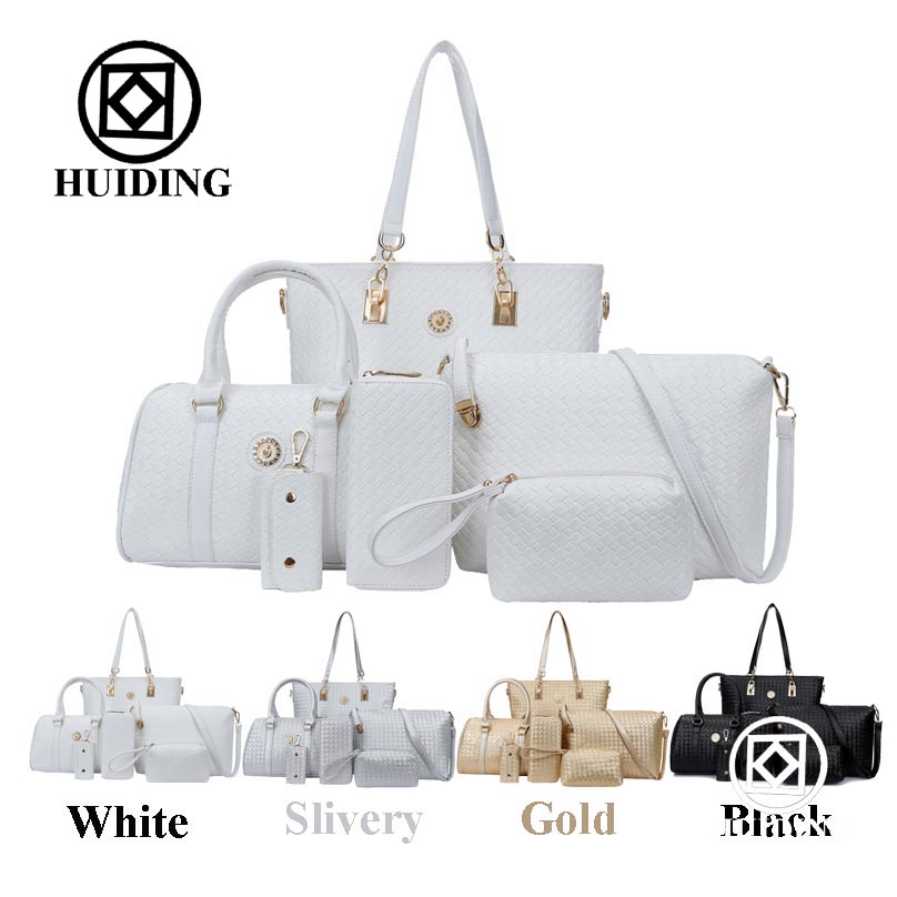 2016 Woven Bags Purse 6 in 1Set Lady Tote Designer Wholesale Woman <strong>Handbag</strong>