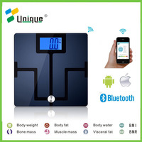 Online Bluetooth Personal Digital Bath Bmi Body Fat Measurement Waterproof Health Monitor Glass Scale