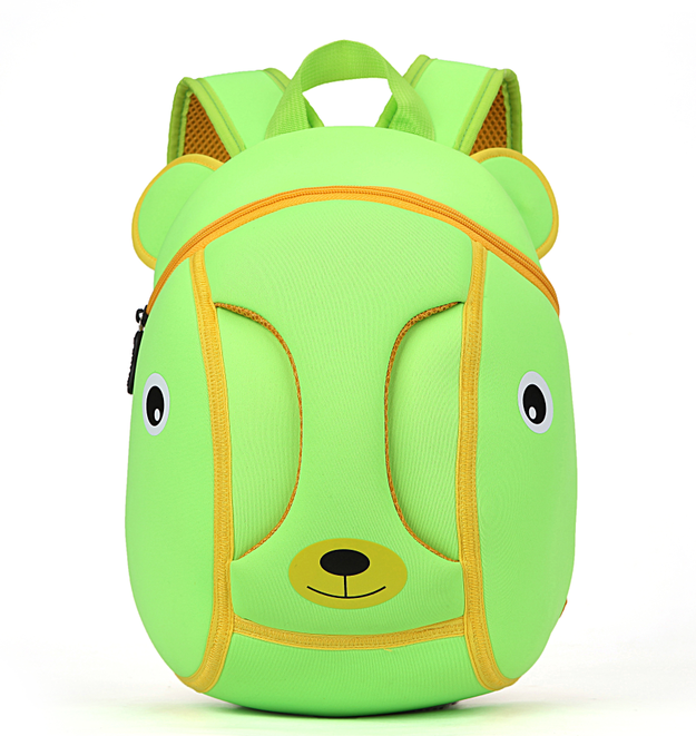 2018 custom cute cartoon waterproof green girls school bag backpack