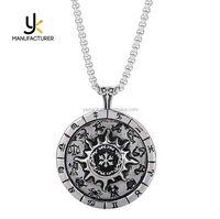 New Style Titanium Steel Customized Vintage Zodiac Compass Necklace In Stock