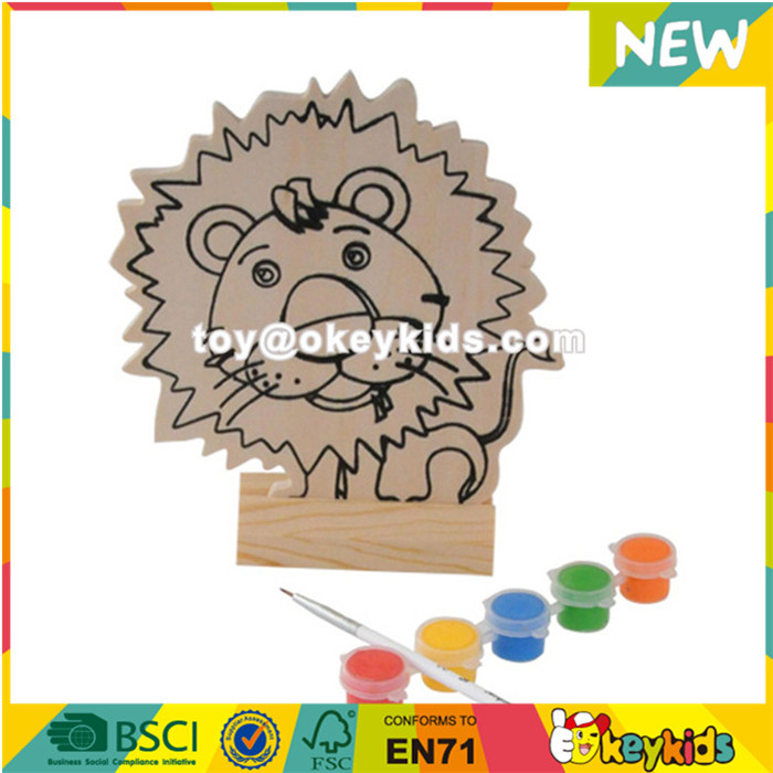 Wholesale funnyable lion pattern wooden watercolor painting toy for children W03A051
