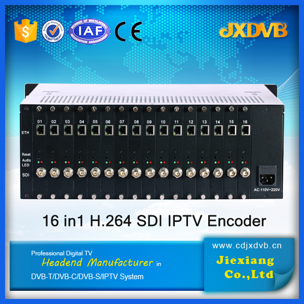 Hotel TV headend 16*SDI-HD MPEG 2 HD/ MPEG 4 H.264 IPTV Encoder