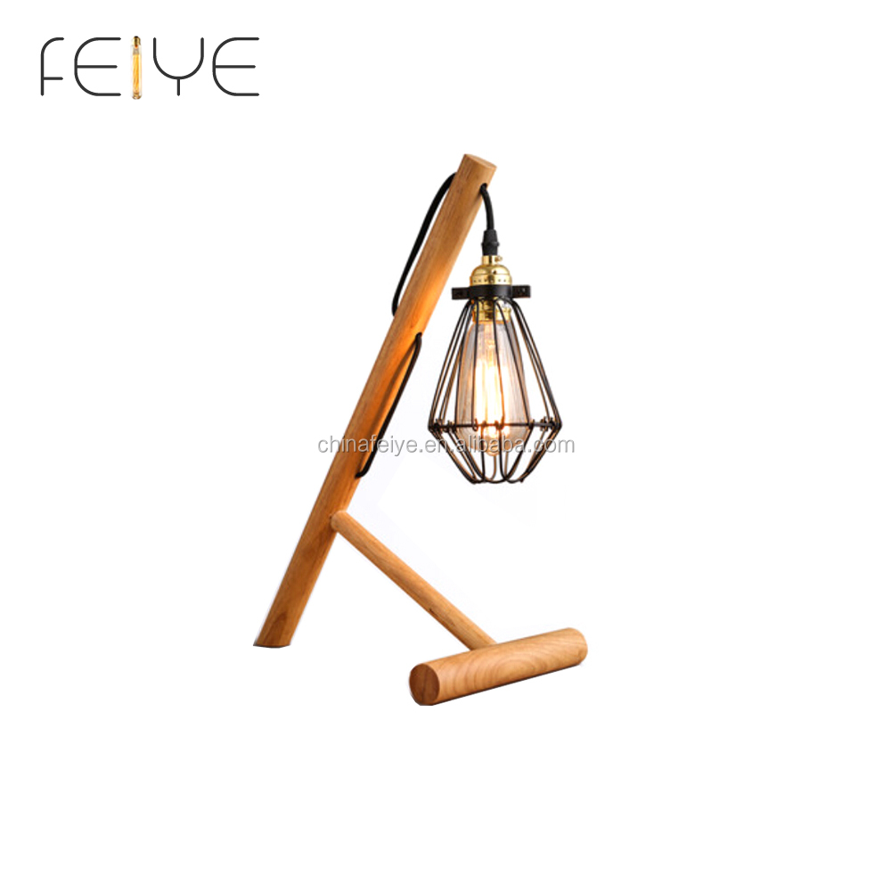 Cage Table Lamp with Wood Base Vintage style