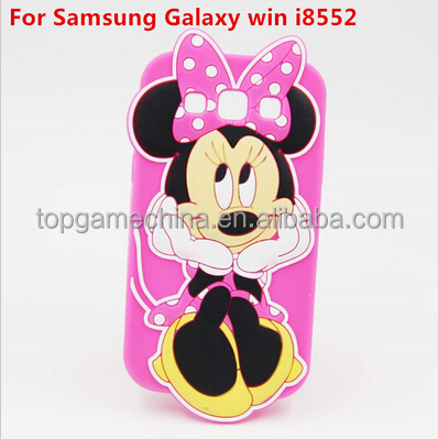 3D Cartoon Minnie Mouse Silicone Case Back Cover For Samsung Galaxy win i8552 Case