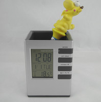 Promotional gift pen holder with LCD alarm clock