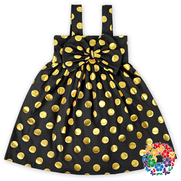 Latest Design Dress Charming Black Cotton Girls Dress Baby Girls Dots Printed Dresses With Bow