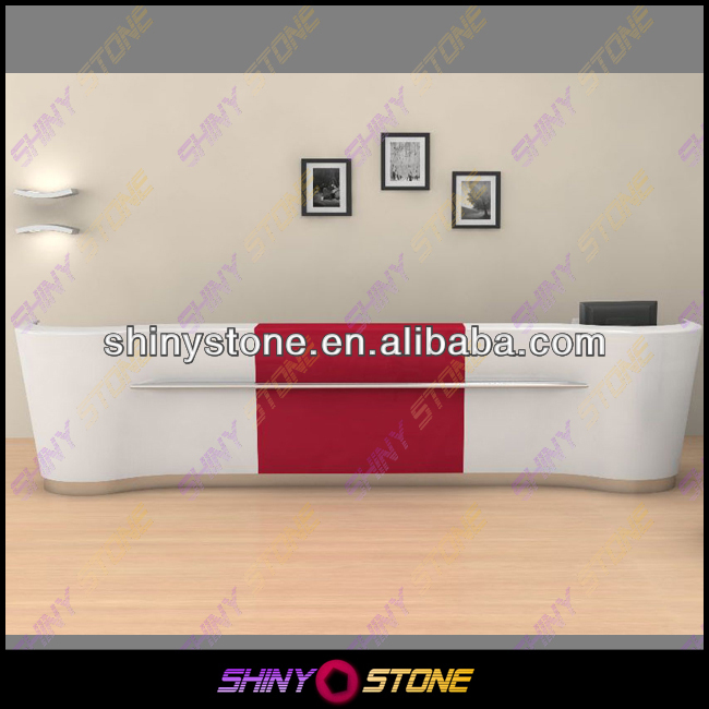 Top Selling Straight formed White Acrylic Solid Surface Agency Reception Desk with front Panel