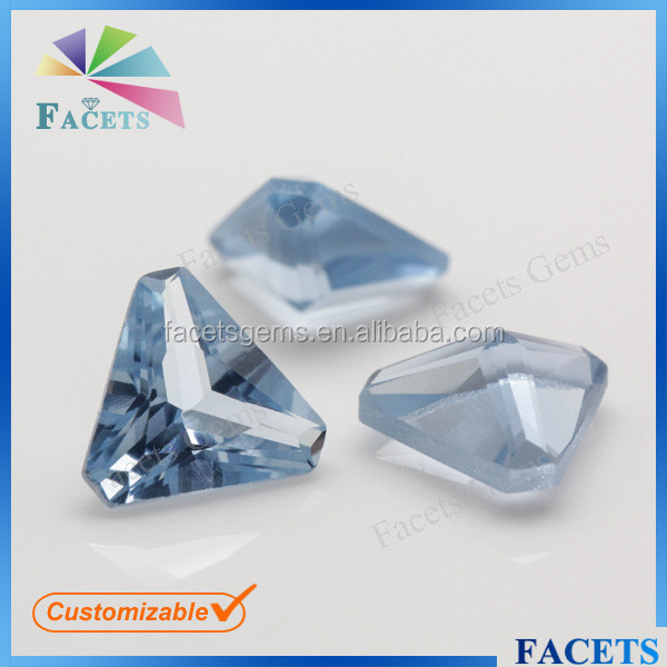FACETS GEMS Wholesale Light Blue Triangle Synthetic Spinel Kashmir Sapphire