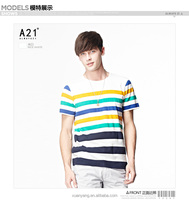 China manufacture wholesale summer hot sale 100%cotton stripe printed men T shirt