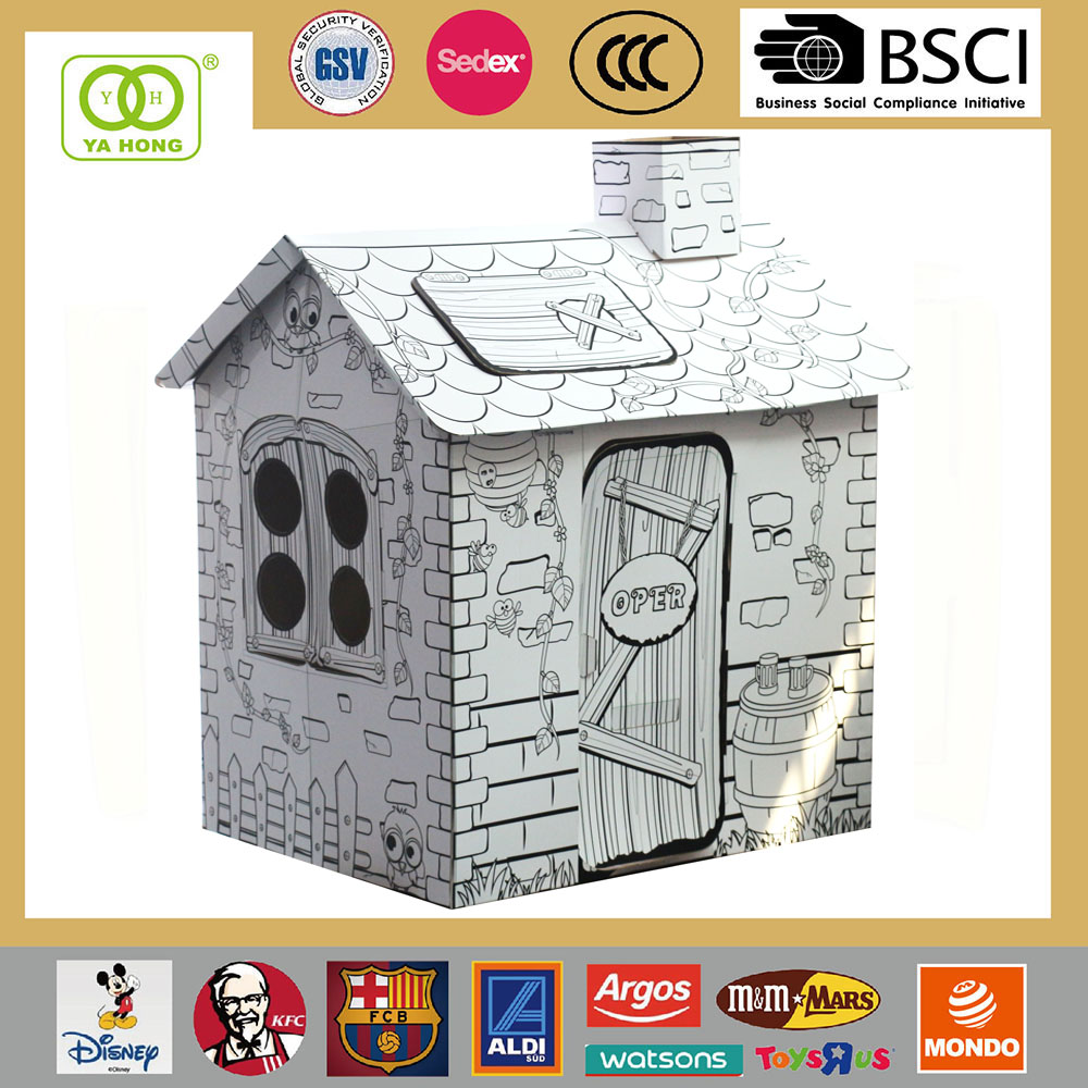 Wholesale Kids Flat Pack Cardboard Play House toy the rattan house