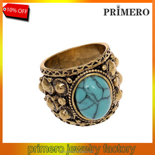 Fashion Jewelry Vintage Carved pattern turquoise skull rings