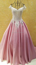 Real sample lace embroidery unit design formal pink evening dress #OE1060