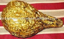 Statueof brass lord krishna on conch metal handicrafts