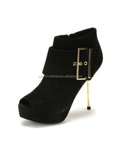 2015 Sexy Suede Leather High Heel Boots Women Open Toe Boots Lady