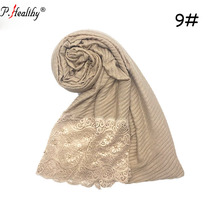 factory wholesale viscose cotton lace pearl hijab wrap scarf muslim women shawl