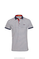 embroidery designs collar custom white and blue stripe polo shirt