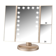 WB SM215G Gold plastic 3 panel foldable 1X 2X 3X magnifier 21 led lights USB chargeable makeup mirror