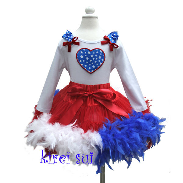 Kids 4th July Blue Red White Feather Red Pettiskirt Plus Ruffles Shoulder Star Heart White Long Sleeves Outfit 1-7Y