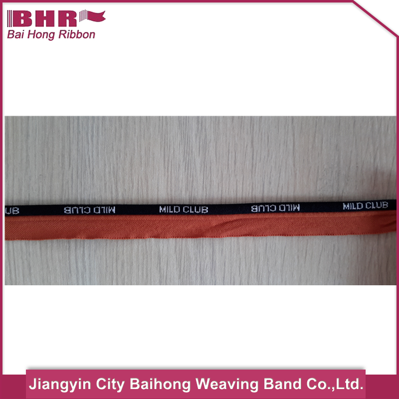customized red tape logo jacquard polyester piping tape cord