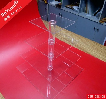 5 tiers clear square acrylic cake stands