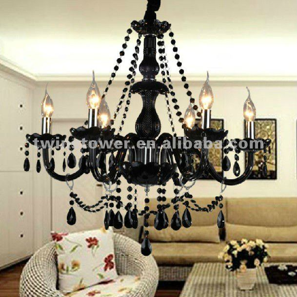 black glass crystal chandelier