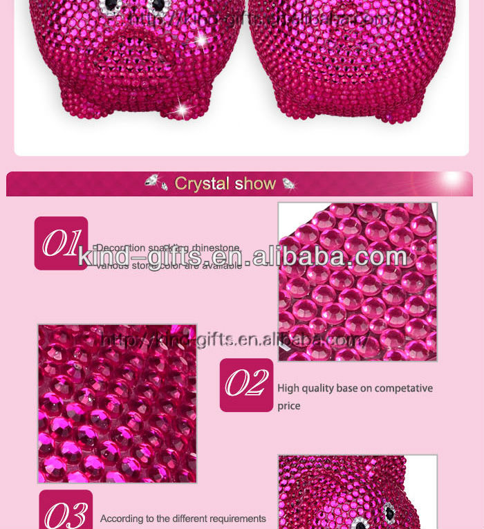 Hot Sale Christmas Gift Bling Rhinestone Large Piggy Bank With Crystal China Supplier