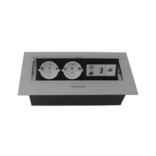 ZS06 European power and dual 3.5 audio and USB data and RJ45 Damped Desktop Socket