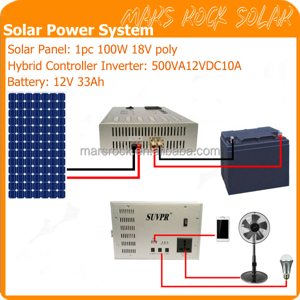 500VA Off Grid Solar Power System for Home Use with 12V DC to AC 110V or 220V 10A Small Hybrid Controller Inverter Device