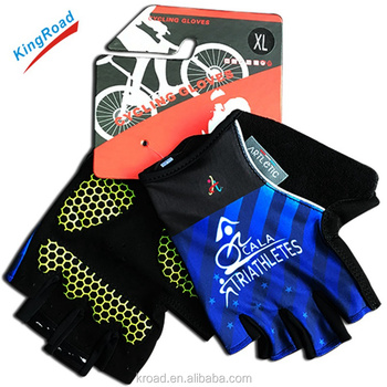 Top grade well sell professional sport custom design best padded cycling gloves half finger