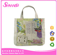 Korean Eco Printed Handle Shopping Tote Jute Bag