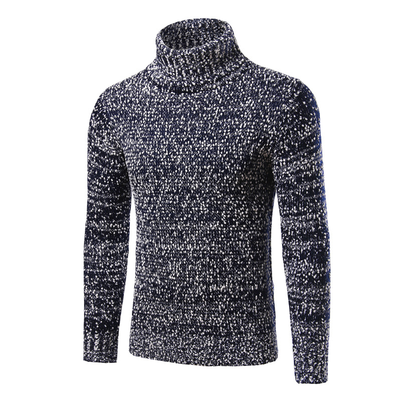 Men Solid Turtleneck Pullover Slim Long Sleeve Turn-down Collar Knitwear