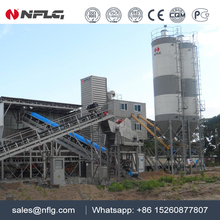 Large capacity containerized concrete mixing plant with high efficiency
