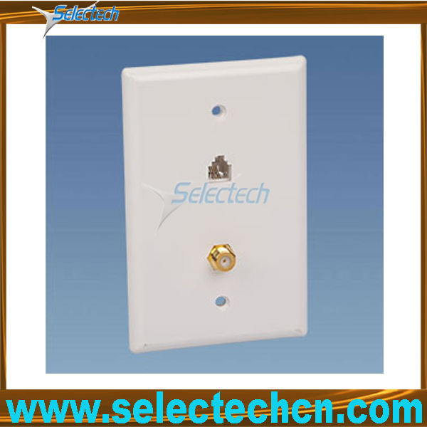 6P4C telephone jack and F81 plug face plate US -49T